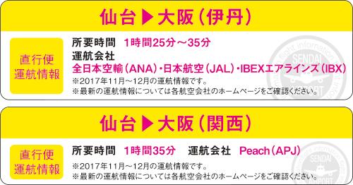 仙台▶大阪(関西)・仙台▶大阪(伊丹) 直行便運航情報