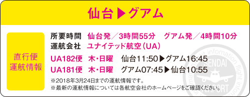 仙台▶グアム 直行便運航情報