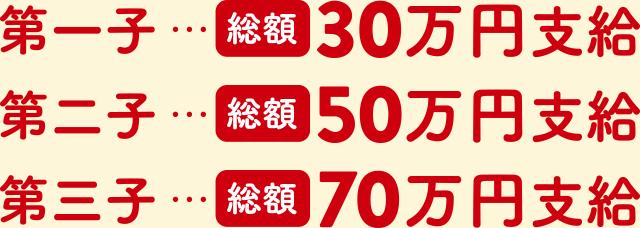 第一子…総額30万円支給、第二子…総額50万円支給、第三子…総額70万円支給