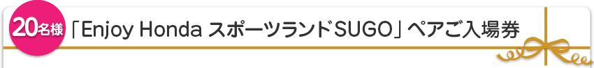 【20名様】「Enjoy Honda スポーツランドSUGO」ペアご入場券