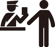 セキュリティチェック(保安検査)、出国審査イメージ