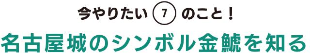 今やりたい「7」のこと! 名古屋城のシンボル金鯱を知る