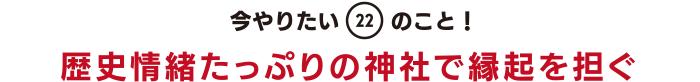 今やりたい「22」のこと! 歴史情緒たっぷりの神社で縁起を担ぐ