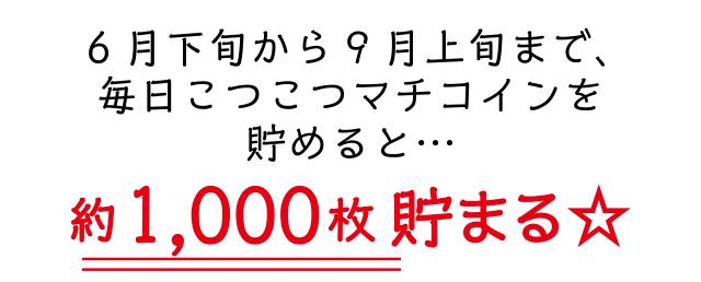 6月下旬から9月上旬まで、毎日こつこつマチコインを貯めると…マチコインが約1,000枚貯まる☆