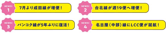 [NEWS!1]7月より成田線が増便! [NEWS!2]台北線が週19便へ増便! [NEWS!3]バンコク線が5年ぶりに復活! [NEWS!4]名古屋(中部)線にLCC便が就航!