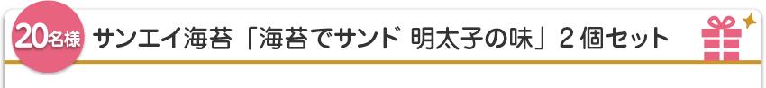 【20名様】サンエイ海苔「海苔でサンド 明太子の味」2個セット