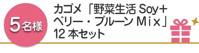 【5名様】カゴメ「野菜生活Soy+ベリー・プルーンMix」12本セット