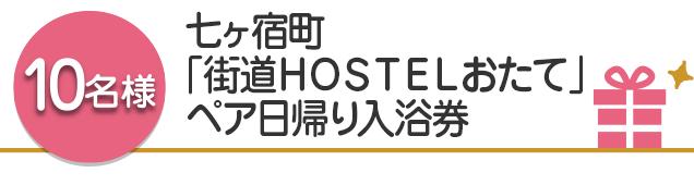 【10名様】七ヶ宿町「街道HOSTELおたて」ペア日帰り入浴券