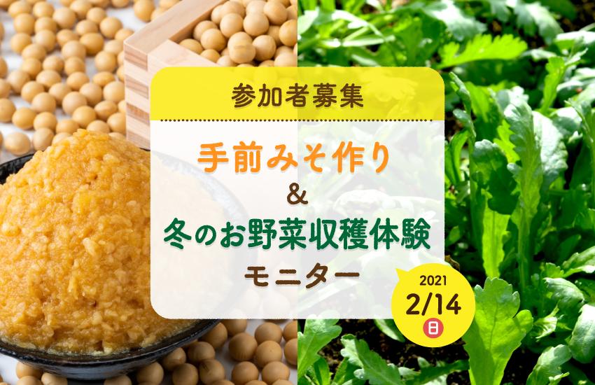 宮城県角田市 手前みそ作り・冬のお野菜収穫体験モニター募集