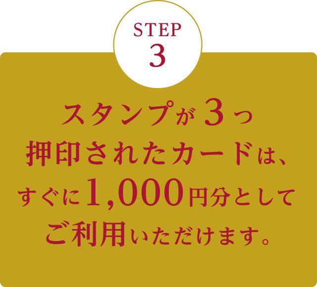 スタンプが3つ押印されたカードは、すぐに1,000円分としてご利用いただけます。