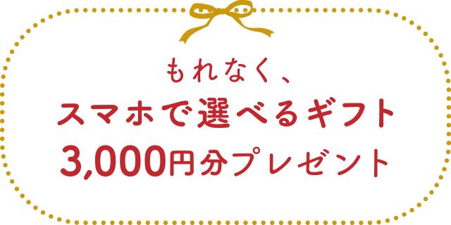 もれなく、スマホで選べるギフト3,000円分プレゼント